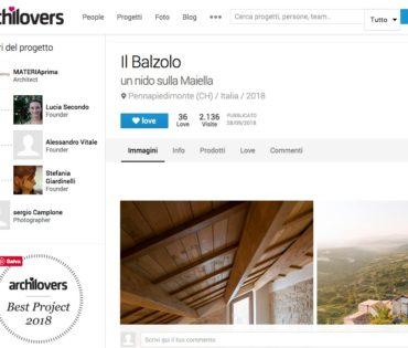 BEST PROJECT 2018! Il progetto del Balzolo selezionato fra i migliori progetti del 2018 dal sito www.archilovers.com!