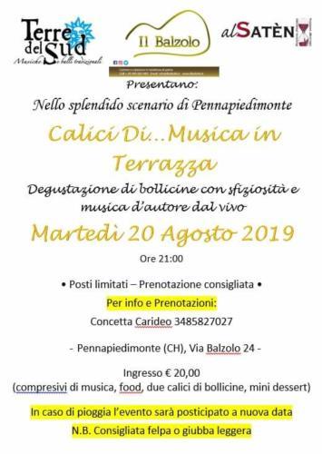 """20 agosto 2019  """"Calici di ….musica in terrazza"""""""